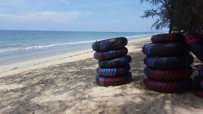 Inner tubes on Muangmagan beach