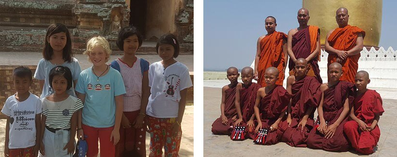 Bagan, Burma, Myanmar - Monks and Burmese kids in Bagan