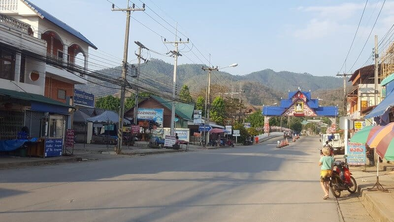 Thaton main road in Thailand