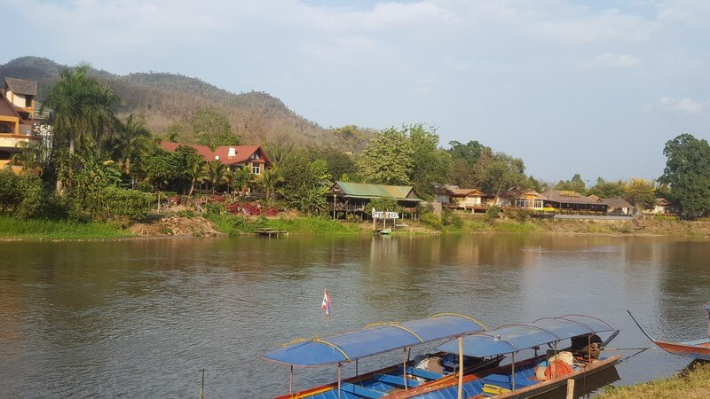 The town on Thathon on the Kok River in Thailand