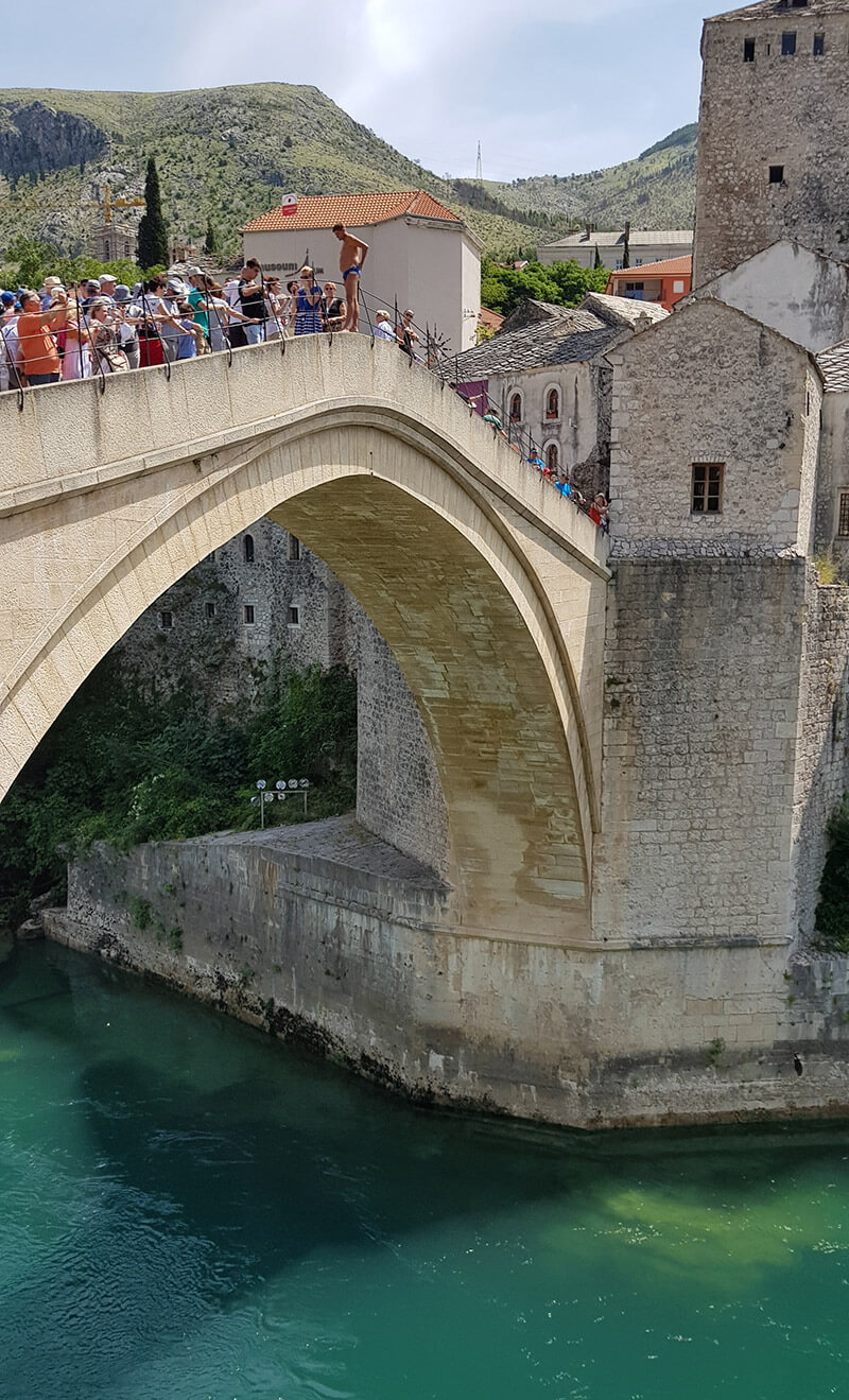 Bridge Jumping in Mostar in Bosnia & Herzegovina