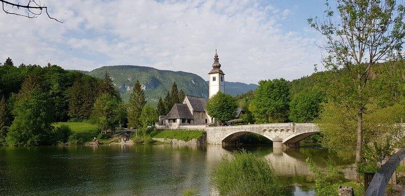 Church of St John the Baptist in Ribcev Laz on Lake Bohinj in Slovenia