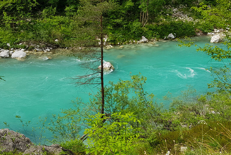 Road tripping from Bovec to Piran: Soca River in Slovenia