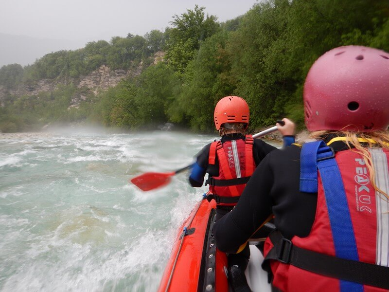 Whitewater rafting on the Soca River in Bovec, Slovenia