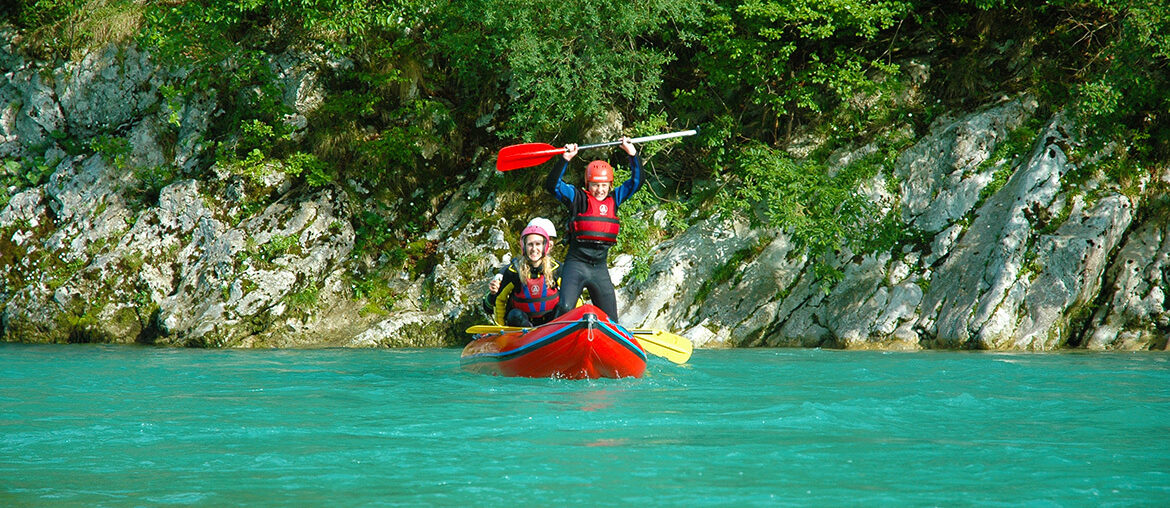 White water rafting on the Soca River at Bovec, Slovenia