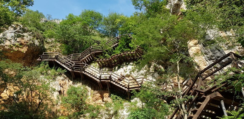 steps to Ozdina Cave at Roski Slap in Krka National Park