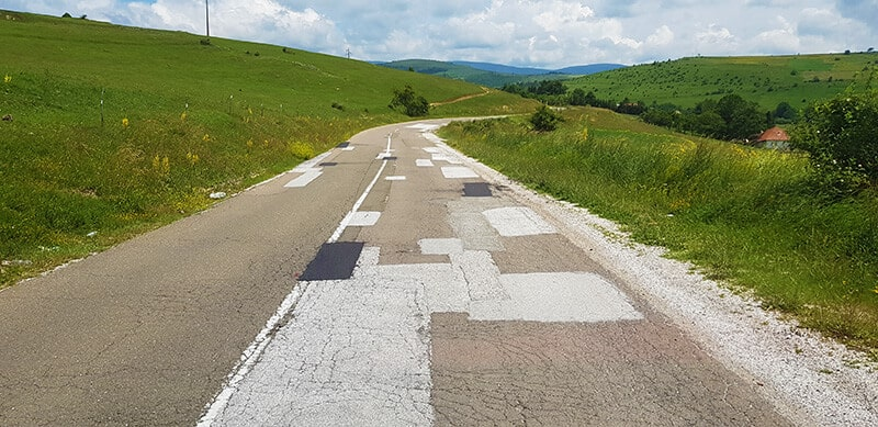 patchworked Serbian roads