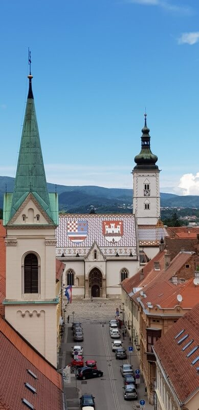 Things to see in Zagreb: View from the Lotrscak Tower to St Nicholas