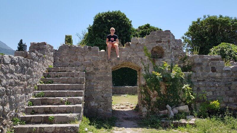 Tai on the ruins at Stari Bar