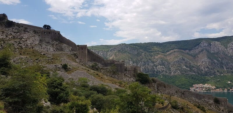 View of St Johns Fortress in Kotor