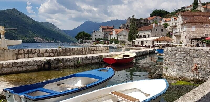 Perast on the Bay of kotor: fishing boats