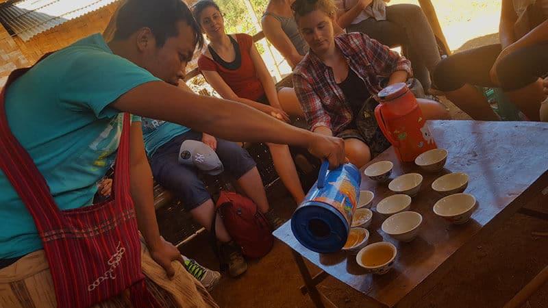 Trekking from Kalaw to Inle Lake: Tea stop
