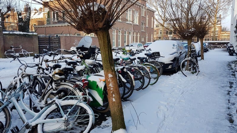 Snow covering everything in Utrecht in Netherlands