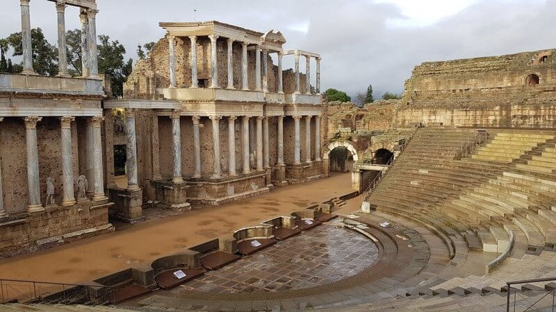 Roman Ruins in Merida Spain: Ancietn marble Roman theatre
