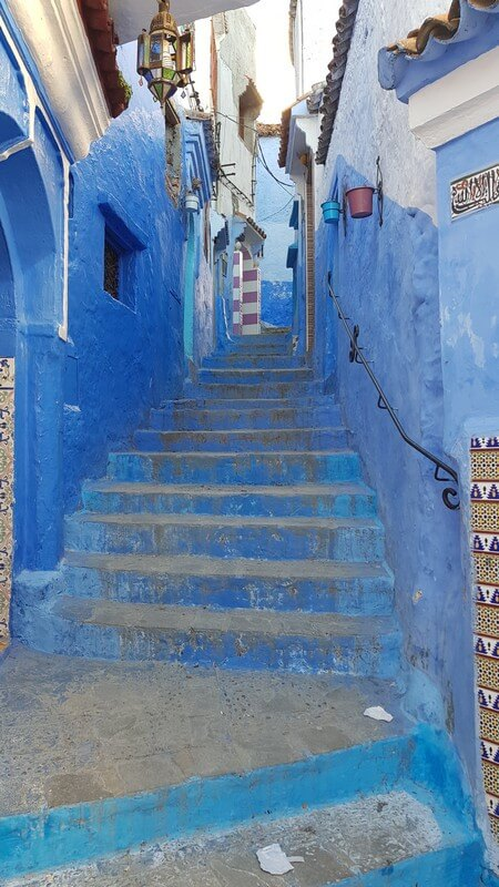 Blue stairs in Chefchaouan Morocco