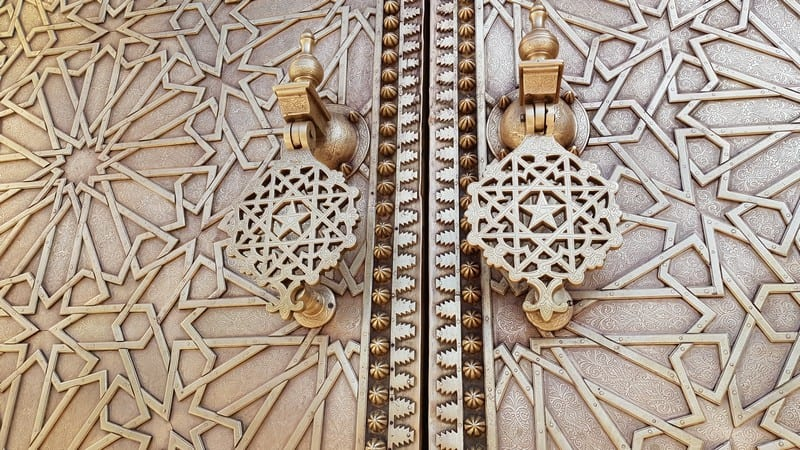 Fes, Morocco: Royal Palace: Brass gates
