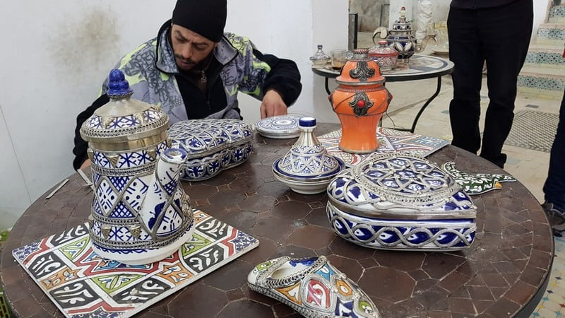 Mosaic Factory in Morocco: adding filigree to tea pots