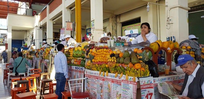 Fruit vendors at San Cristobal Market in Arequipa