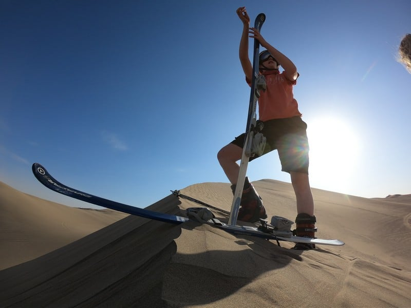 sand skiing in Huacachina, Peru
