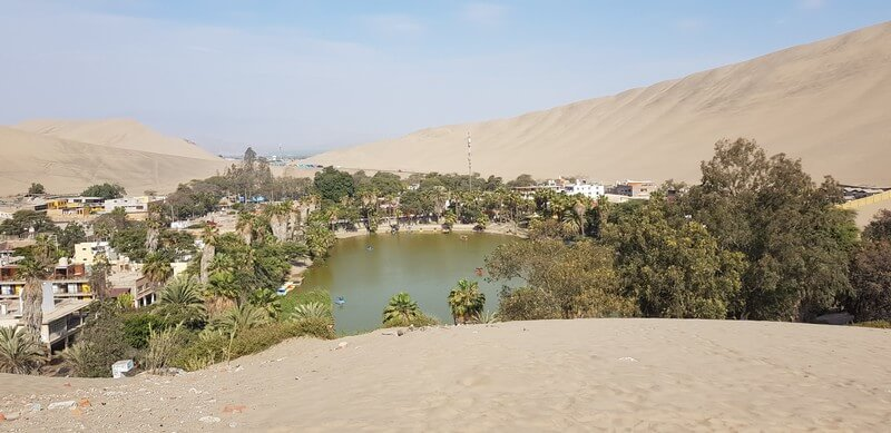 Huacachina oasis town in Ica, Peru
