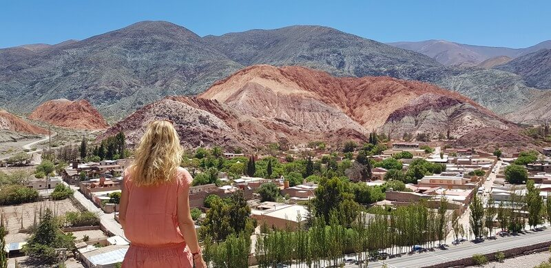Viewpoint of the Seven Coloured Hills in Purmamarca in Norther Argentina
