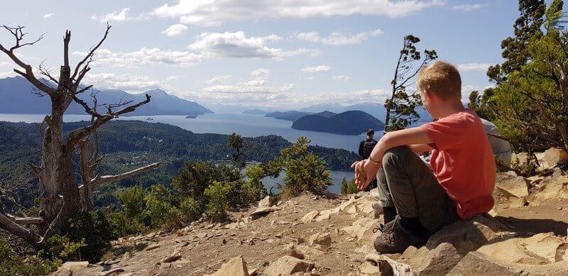 View of lakes from Cerro Campinaro in Bariloche in Argentina