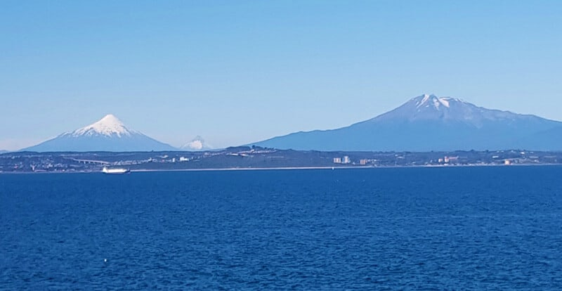 Views of volcanos from the navimag ferry in Chile