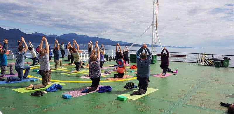 Yoga on the navimag ferry in Chile