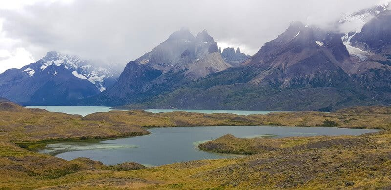 hiking in Torres del paine national park in chile