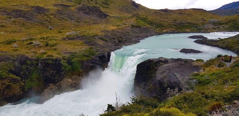 salinas grande waterfall in torres del paine national park