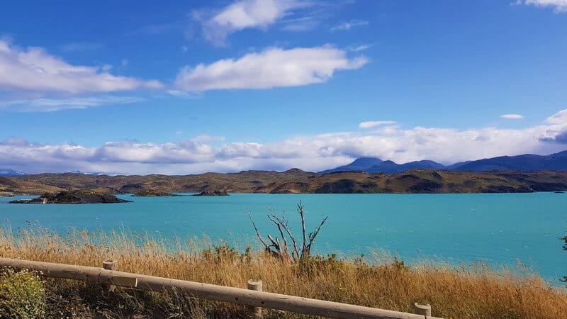 Turquoise lakes in torres del paine national park